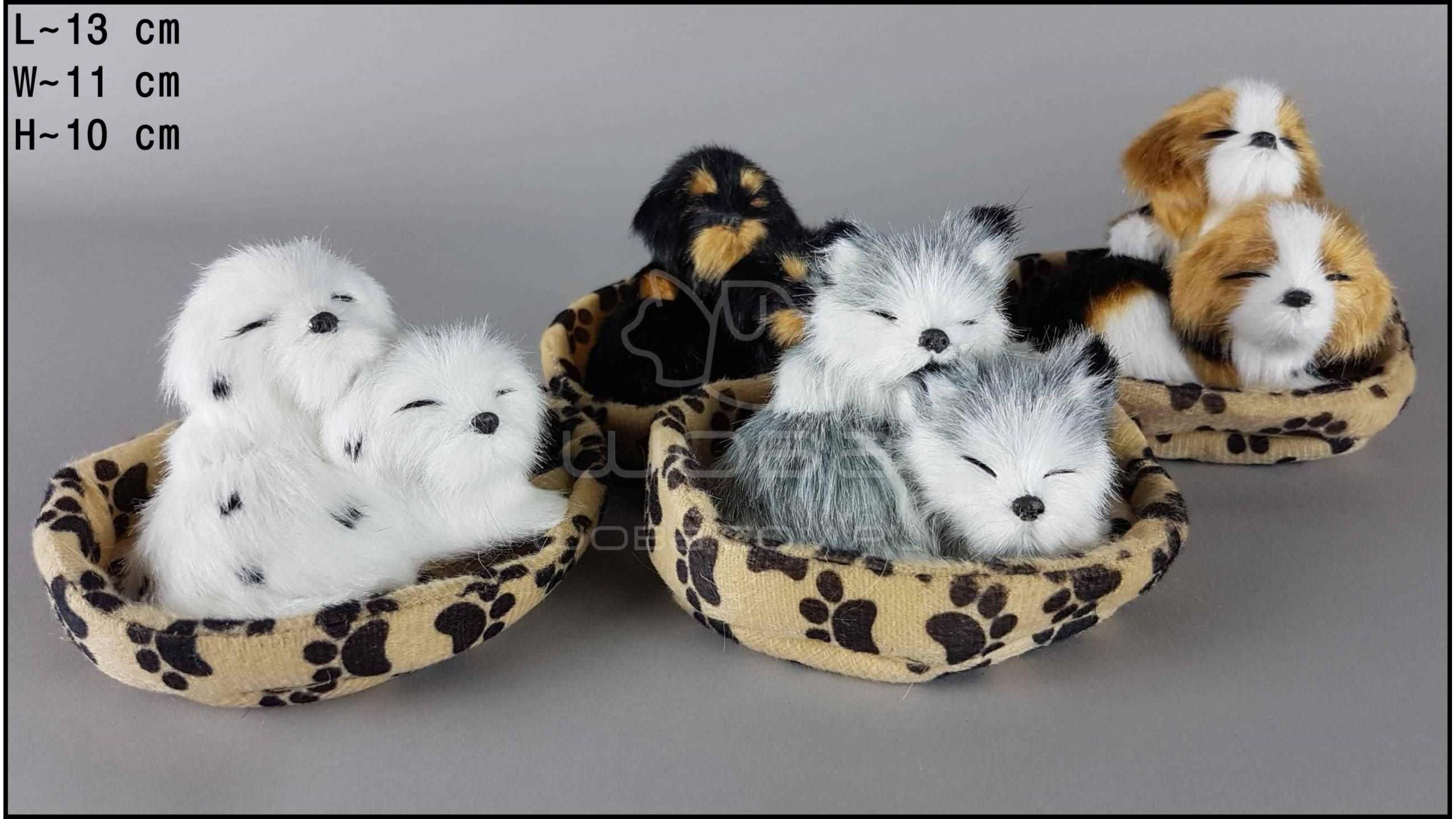 Two Little dogs in a cot with a paw (4 pcs in a box)