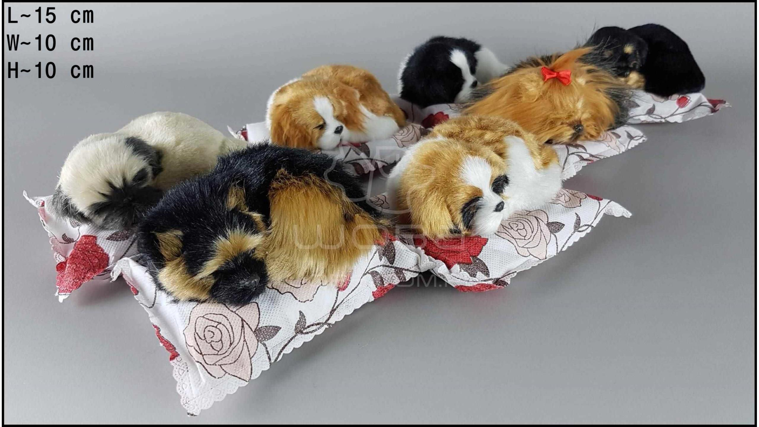 Little dogs on a white bamboo pillow (7 pcs in a box)