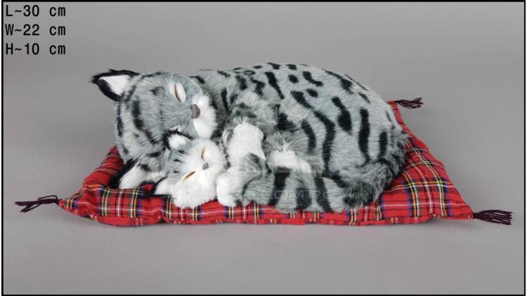 Cat with a kitten on a pillow - Size L