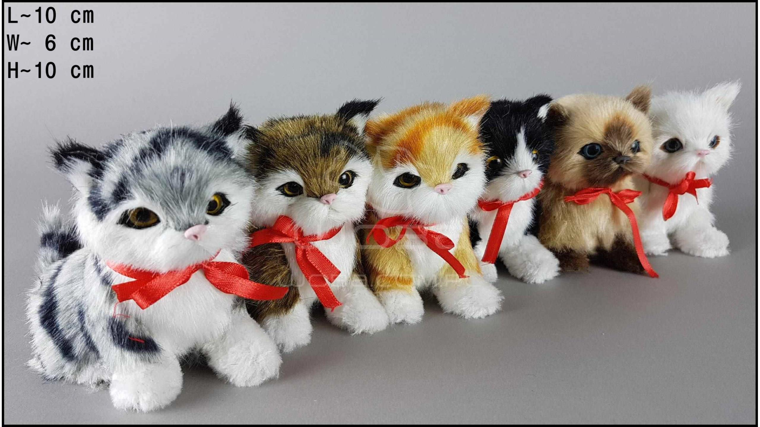 Kotki siedzące, miauczące, z kokardą (6 szt. w opakowaniu)