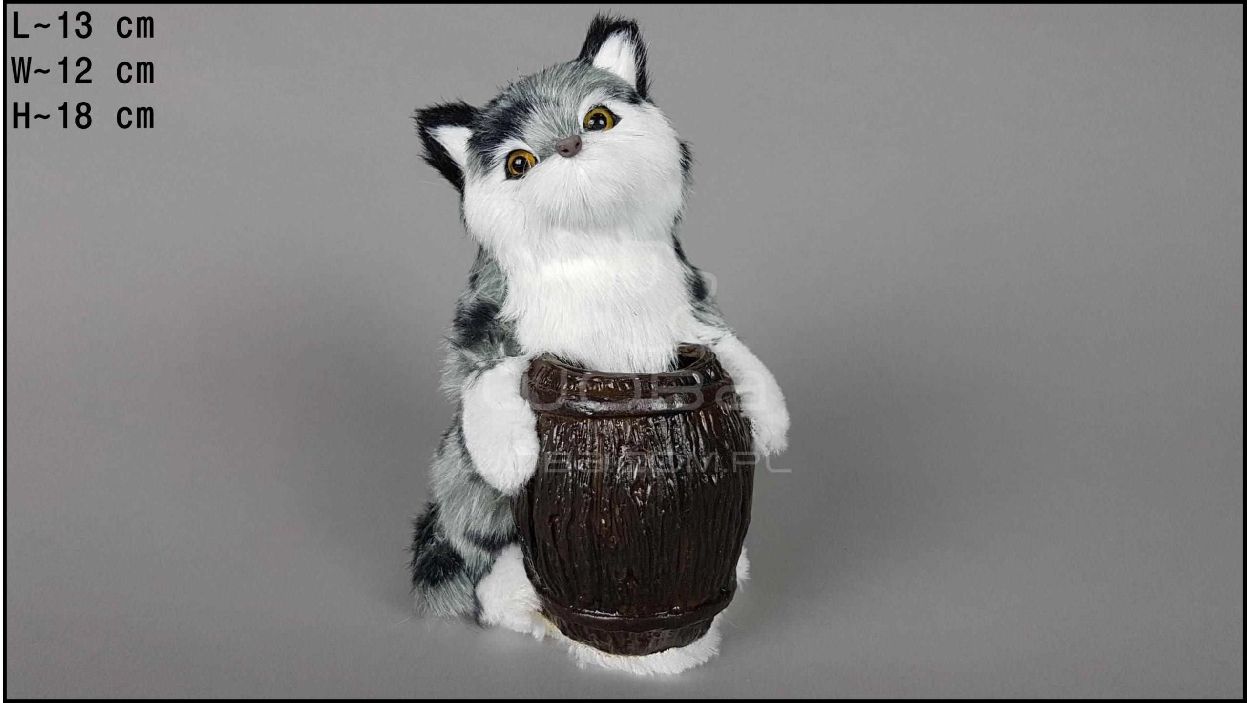 Kot z beczką Szary